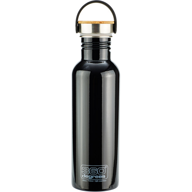 360° degrees Stainless Trinkflasche with Bamboo Cap 750ml black