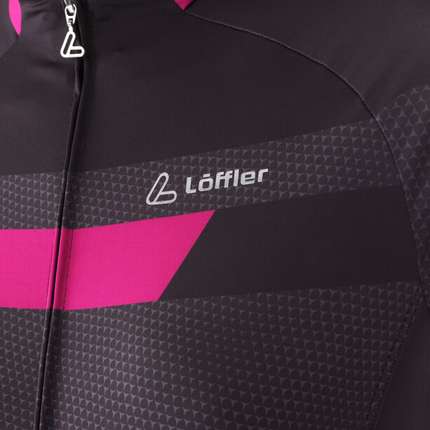 Löffler Hotbond Fahrradtrikot Full-Zip Damen schwarz/berry
