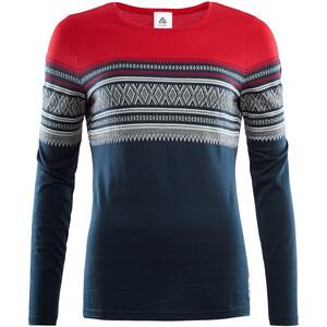 Aclima DesignWool Marius Light T-shirt manches longues à col ras-du-cou en mérinos Femme, bleu/rouge bleu/rouge