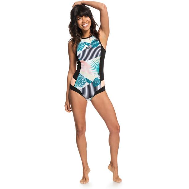 Roxy 1.0 Popsurf Racerback B-Lock Bikini Fermeture éclair arrière Femme, noir/Multicolore