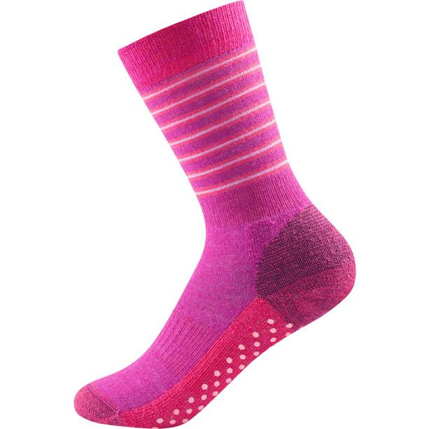 Devold Multi Medium Anti-Rutsch Socken Kinder fuchsia stripe