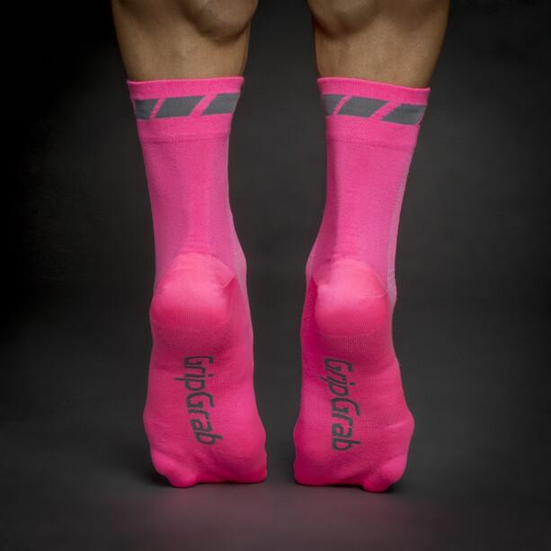 GripGrab Hi-Vis Regular Cut Socken pink hi-vis