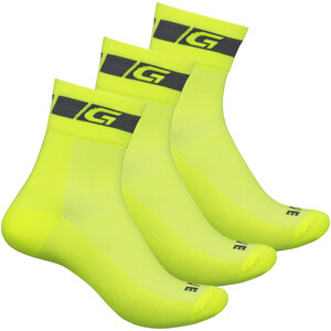 GripGrab Hi-Vis Regular Cut Socken 3-Pack yellow hi-vis yellow hi-vis