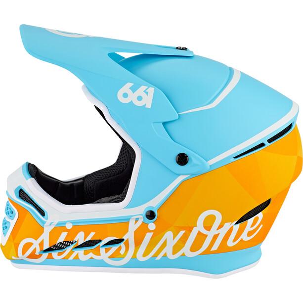 SixSixOne Reset MIPS Fullface Helm geo blue/orange