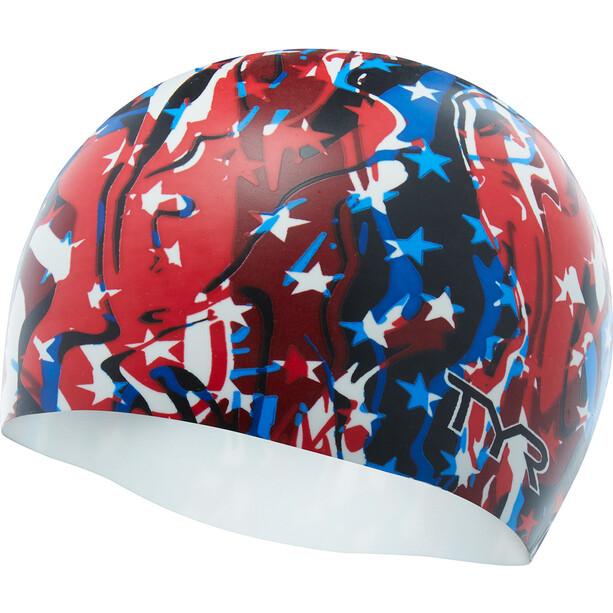 TYR Firecracker Bonnet de natation, rouge/bleu