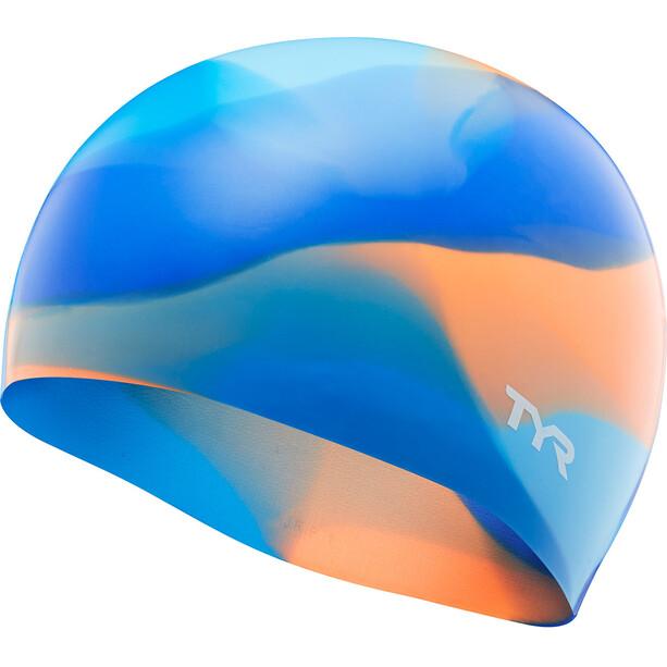 TYR Tie Dye Silikon Badekappe Kinder blue/orange