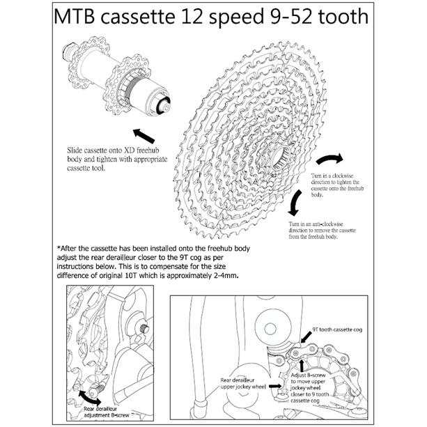 KCNC MTB Kassette Kassette für SRAM Eagle 12-fach 9-52 Zähne orange