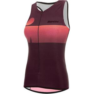 Santini Audax Aero Hihaton Triathlon-toppi Naiset, punainen/musta punainen/musta