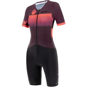 Santini Audax Aero Lyhythihainen Triathlon-puku Naiset, punainen/musta punainen/musta