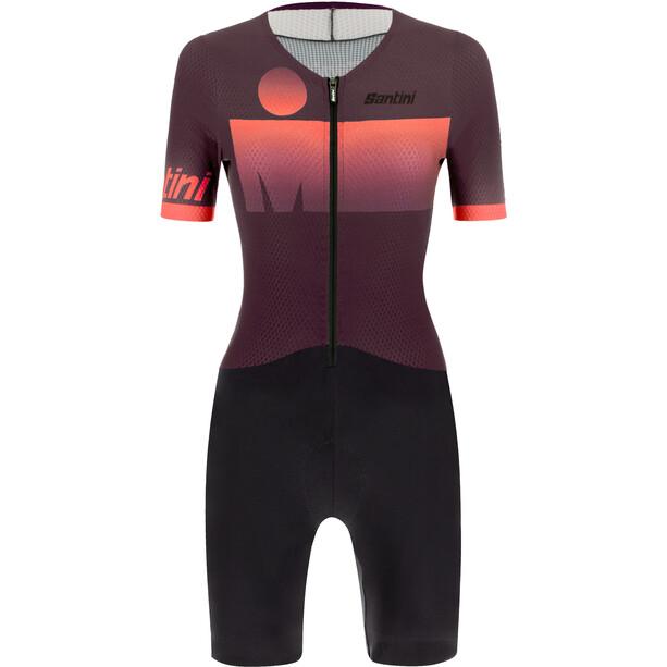 Santini Audax Aero Combinaison de triathlon manches courtes Femme, rouge/noir