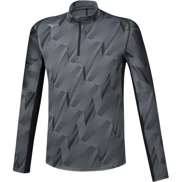Mizuno Jacquard Graphic Half-Zip Langarmshirt Herren black
