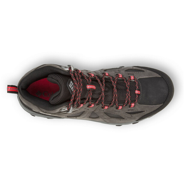 Columbia Lincoln Pass Chaussures en cuir mi-hautes Outdry Femme, black/red camelhia