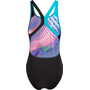 speedo LightSwirl Placement Digital Badeanzug Damen black/aquasplash/bright zest