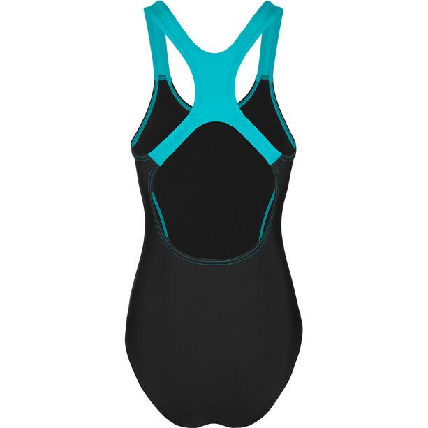 speedo Gala Logo Medalist Badeanzug Damen black/aquasplash