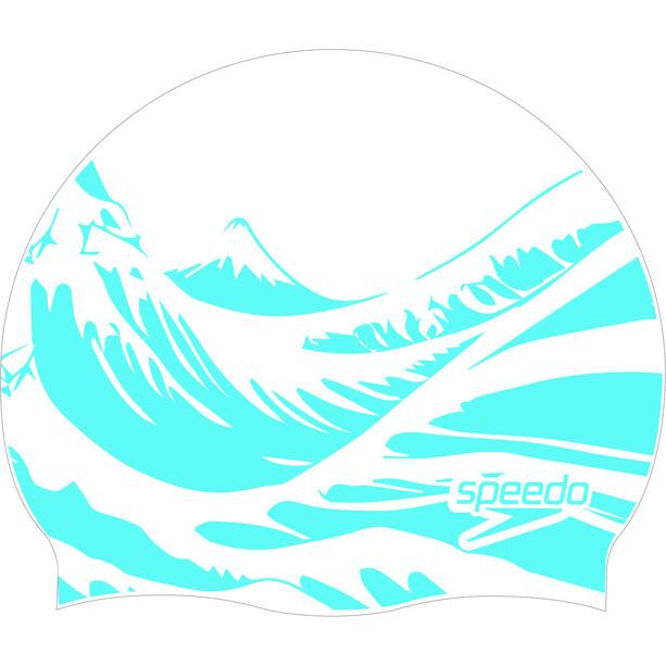 speedo Slogan Print Schwimmkappe white/blue