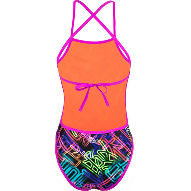speedo Kanji Neon Cross Badeanzug Damen black/psycho red/neon orchid/fluo green