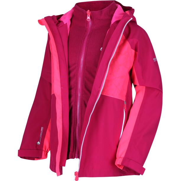 Regatta Hydrate IV 3in1 Jacke Mädchen dark cerise/neon pink reflective