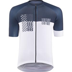 VOTEC Block Pattern Maillot de cyclisme Homme, blanc/bleu blanc/bleu