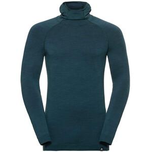 Odlo Natural + Kinship Langarmshirt mit Sturmmaske Herren blue coral melange blue coral melange