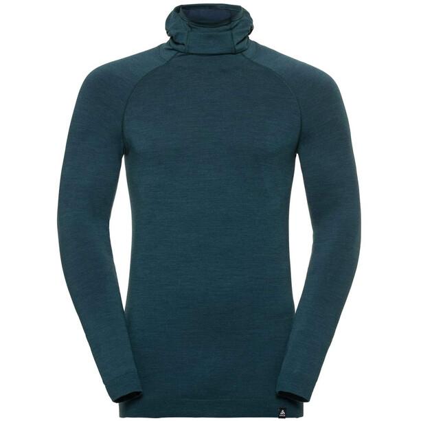Odlo Natural + Kinship Langarmshirt mit Sturmmaske Herren blue coral melange