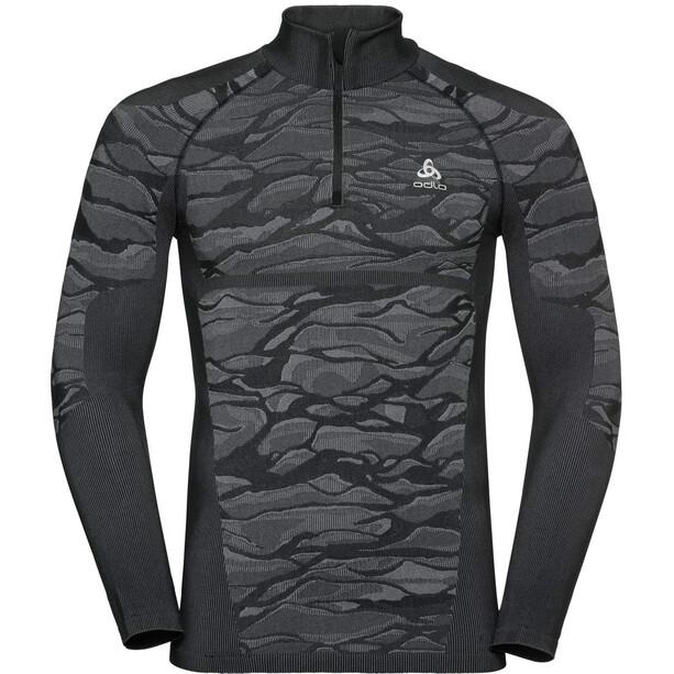 Odlo Blackcomb Half Zip Rollkragen Langarmshirt Herren black/odlo steel grey/silver