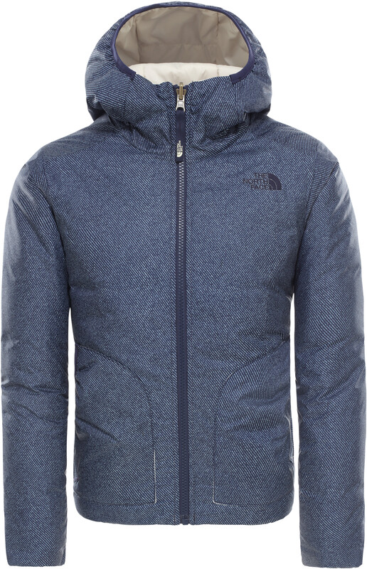 The North Face Reversible Perrito Jacket Girls Montague Blue Denim Print XL   170-175 2019 Skidjackor