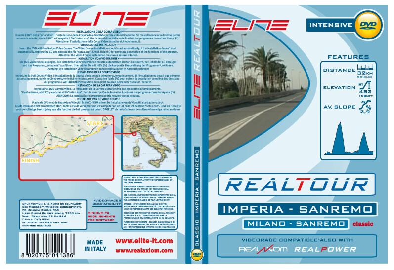 Elite DVD Milano Sanremo Imperia-Sanremo Real Axiom/Power/Tour Grønn/Hvit  2017 Tilbehør til Sykkeltrainers