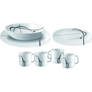 Brunner Melamine Set de platos, blanco/gris blanco/gris